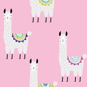 Llama pink alpaca girls print