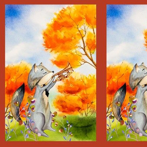 small THE TROMPETTIST FOX AUTUMN FOREST WOODLAND ANIMALS MUSIC ORCHESTRA PANEL FRAMED fall colors