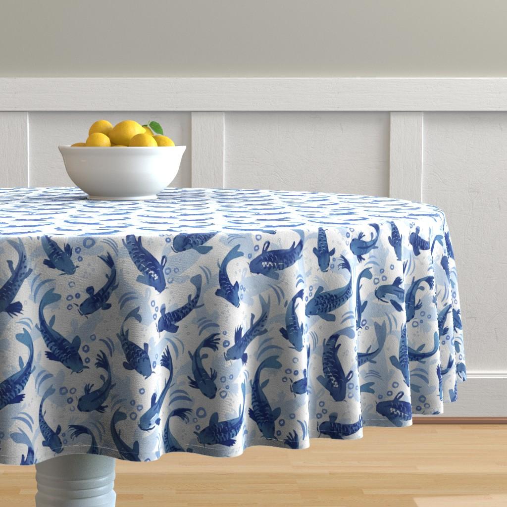 Malay Round Tablecloth featuring Koi Fish Dance by marketa_stengl