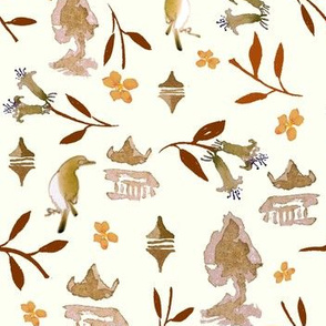 Chinoiserie pattern Sepia