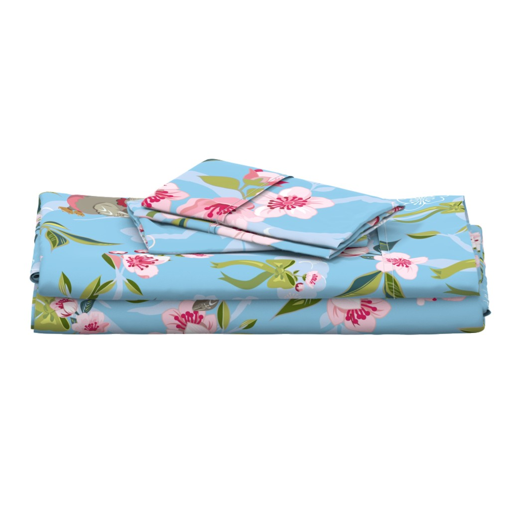 Langshan Full Bed Set featuring Cherry Blossom-Baby Owl Nursery by clarkyworks