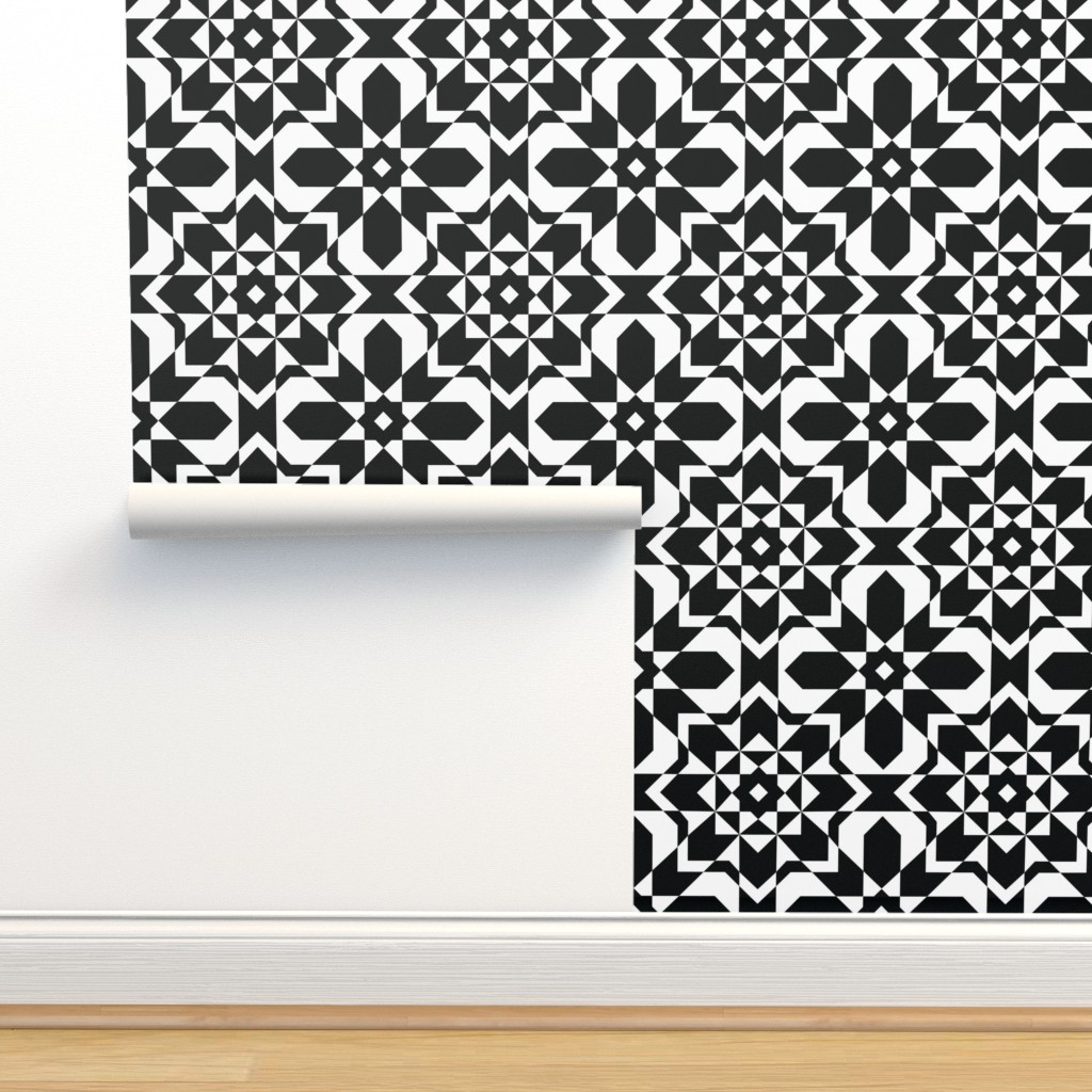 Isobar Durable Wallpaper featuring Bold Black and White Geometric Seamless Pattern by designtherapy