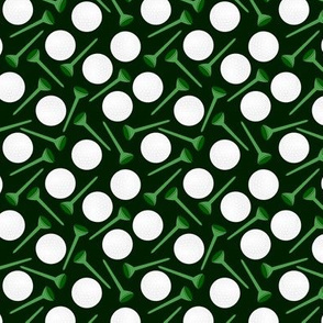 golf balls and tees in green