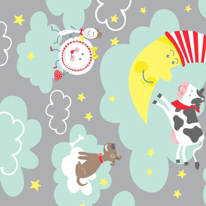 Cow and Moon 4up on Minky vertical rotated