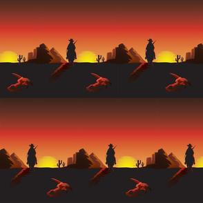 Western Sunset Cowboy Lone Rider