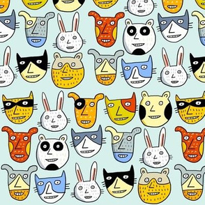 happy animal heads