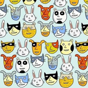 happy animal heads