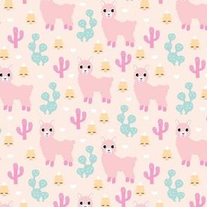 Christmas trees and seasonal llama holiday cactus tree print pastel pink girls