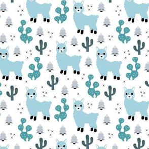 Christmas trees and seasonal llama holiday cactus tree print winter blue boys