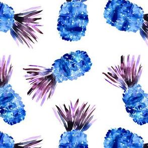 Fun blue pineapples, watercolor
