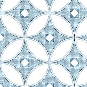 Mid Century Modern slate blue circle lock pattern, modern chinoiserie