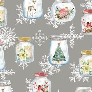 Christmas glass jar