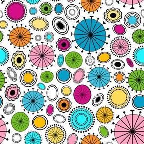 Colorful Mid Century Retro Circles - Small Scale