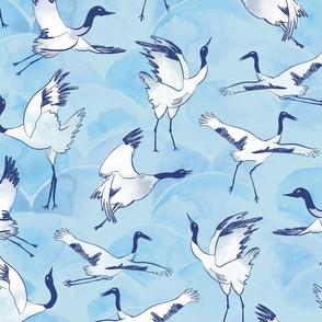 Immortal cranes - blue watercolor birds