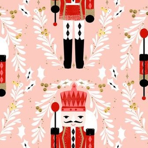LARGE - nutcracker fabric // pink and red nutcrackers holiday xmas christmas fabric christmas andrea lauren christmas fabric