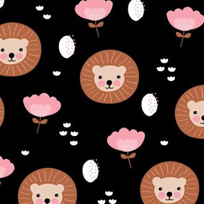 Cute kawaii lion cub safari flowers adorable baby animals illustration pattern girls pink copper black
