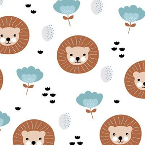 Cute kawaii lion cub safari flowers adorable baby animals illustration pattern copper white blue
