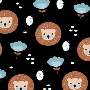 Cute kawaii lion cub safari flowers adorable baby animals illustration pattern gender neutral black copper blue