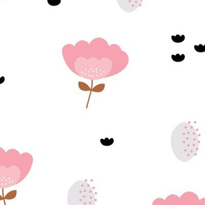 Sweet fall flowers Scandinavian trend illustration paper cut design pastel pink JUMBO