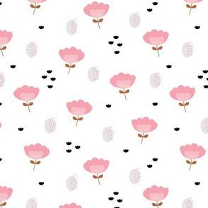 Sweet fall flowers Scandinavian trend illustration paper cut design pastel pink