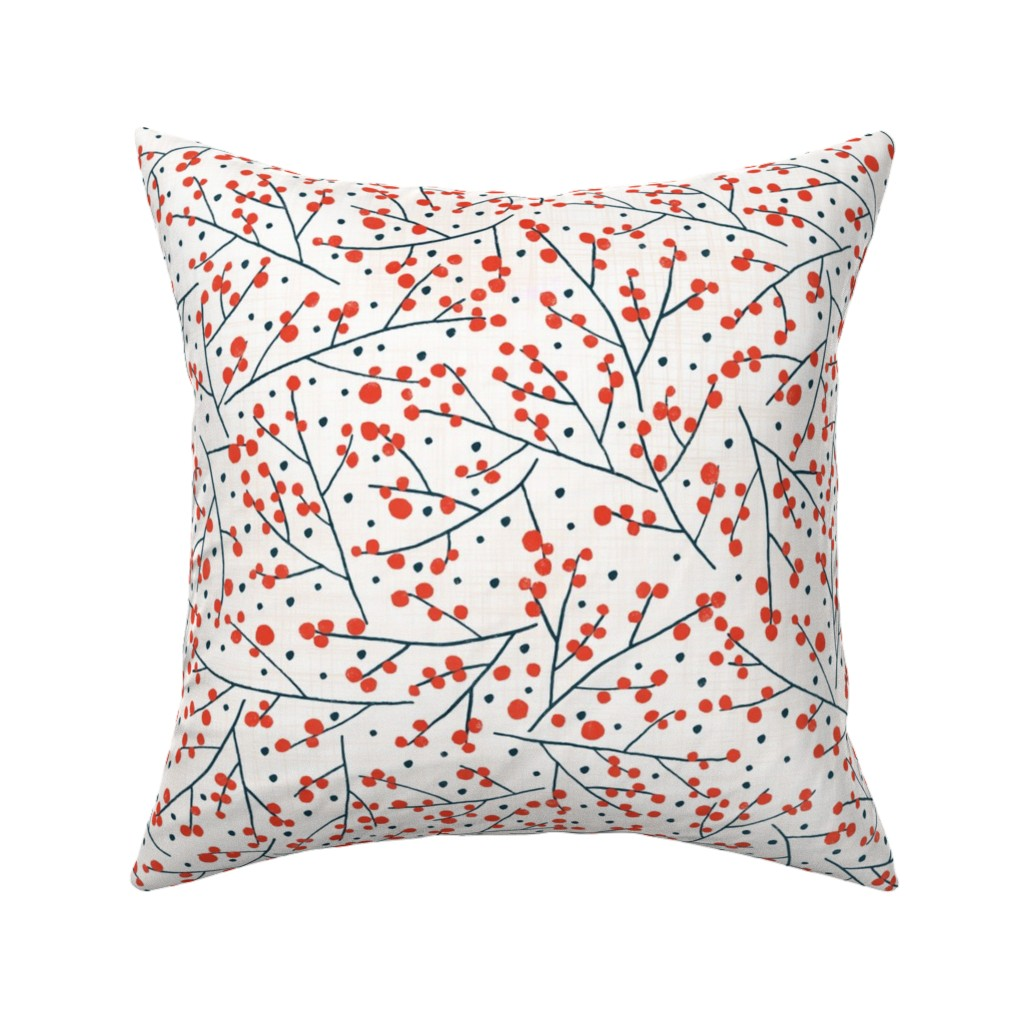 Catalan Throw Pillow featuring Branches and Berries on light by lidiebug