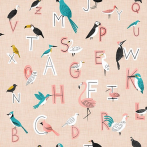 Bird typography in beige