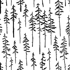Woodland Forest Trees - White