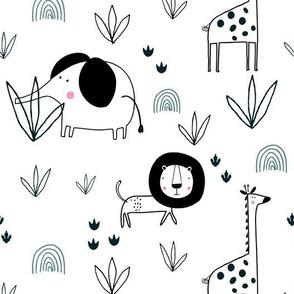 8126007-safari-jungle-elephant-lion-giraffe-by-paperandpickles