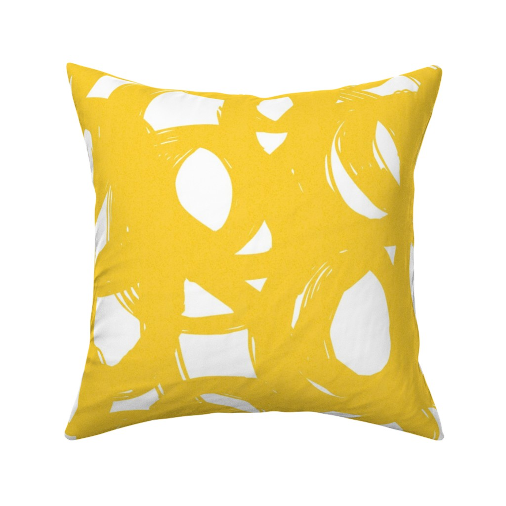 Catalan Throw Pillow featuring Yellow scribble by ottomanbrim