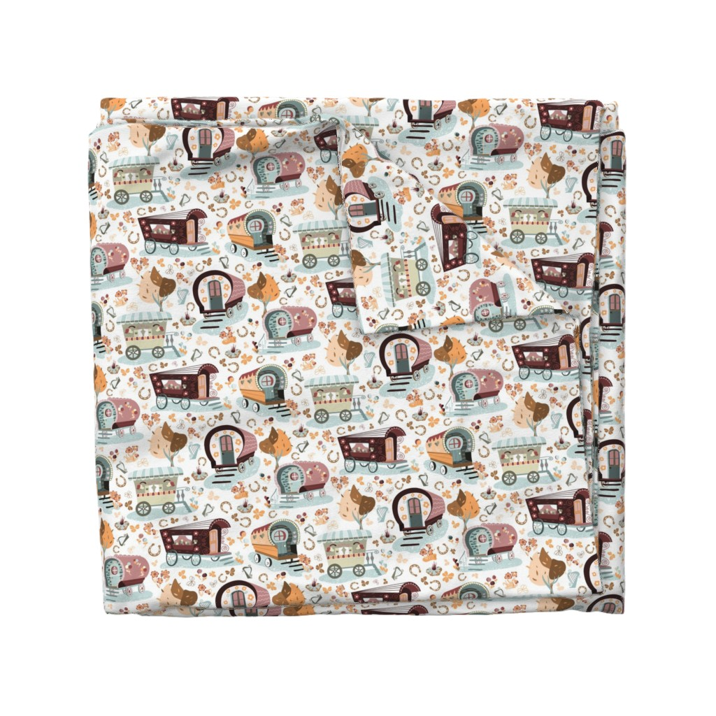 Wyandotte Duvet Cover featuring Wandering Wagons in Blue and Orange by paula_ohreen_designs