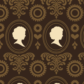 """24"""" Steampunk Vintage Cameo Damask with Gears & Hearts in Brown and Brown-Gold"""