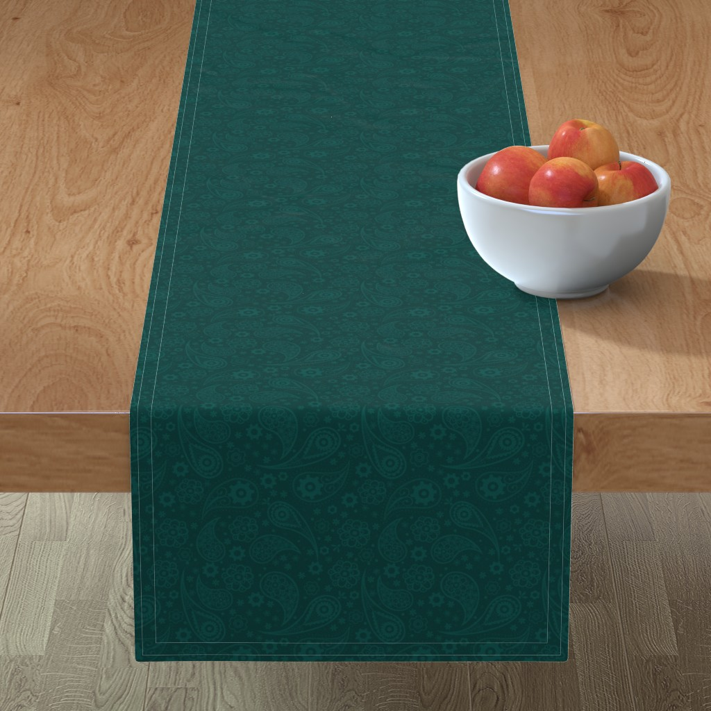 Minorca Table Runner featuring Steampunk Paisley with Flowers and Gears in Lagoon Green by chiqdesign
