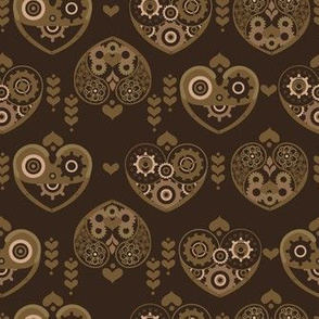 Steampunk Hearts with Paisley, Flowers and Gears in Dark Brown