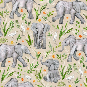 Baby Elephants and Egrets in Watercolor - neutral, large print