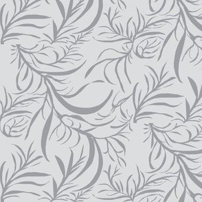 Feathery Leaves of Mystic Grey on Silver Mist