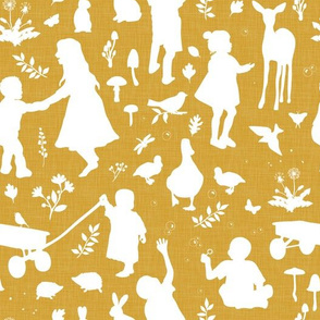 Kids at Play - Silhouette Kids Wallpaper - White, White Linen, Caramel