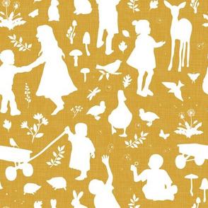 Kids at Play - Silhouette Kids Wallpaper - White, White Linen, Caramel