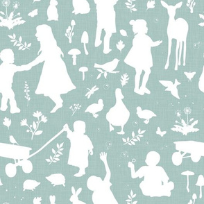 Kids at Play - Silhouette Kids Wallpaper - White, White Linen, Aqua
