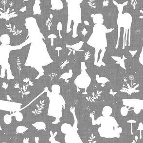Kids at Play - Silhouette Kids Wallpaper - White, White Linen, Gray