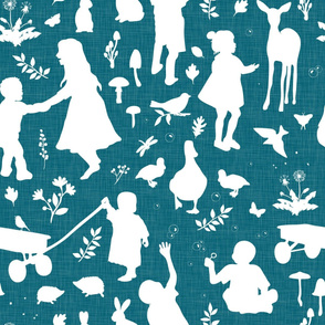 Kids at Play - Silhouette Kids Wallpaper -  White, White Linen,  Lagoon