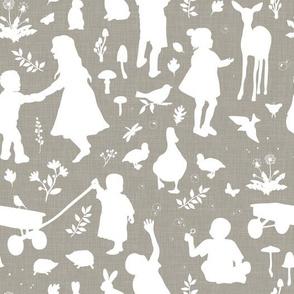 Kids at Play - Silhouette Kids Wallpaper - White, White Linen, Mushroom