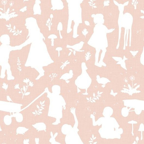Kids at Play - Silhouette Kids Wallpaper  - White, White Linen, Pale Blush
