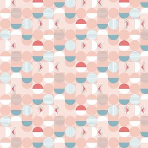 pink circles // geometric, circle, blobs, spots, stripes, dots, abstract, retro, fabric
