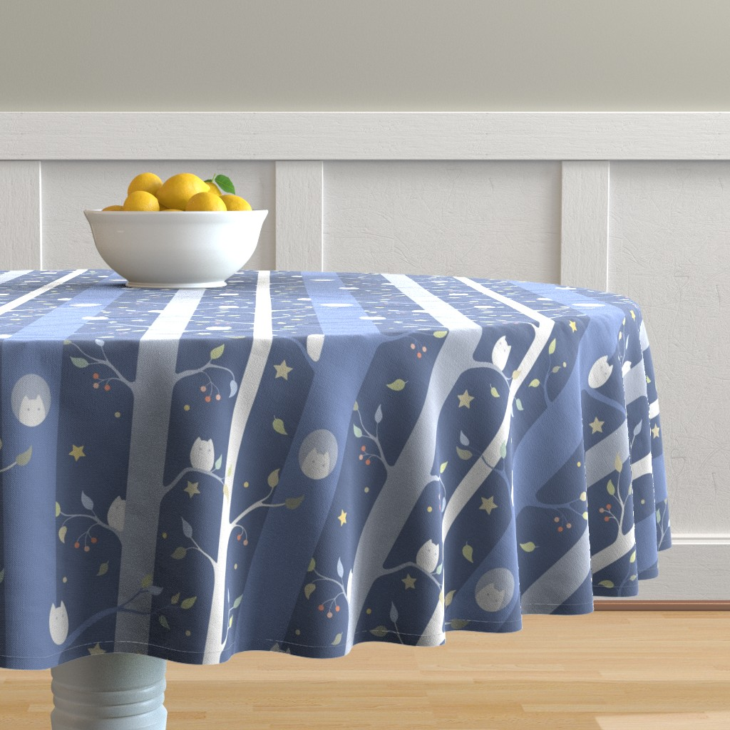Malay Round Tablecloth featuring Owl forest (night) by elena_naylor