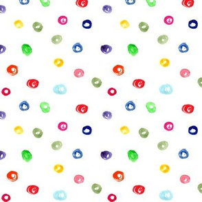 Watercolor colorful polka dot pattern, for nursery, kids