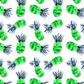 Green watercolor pineapples