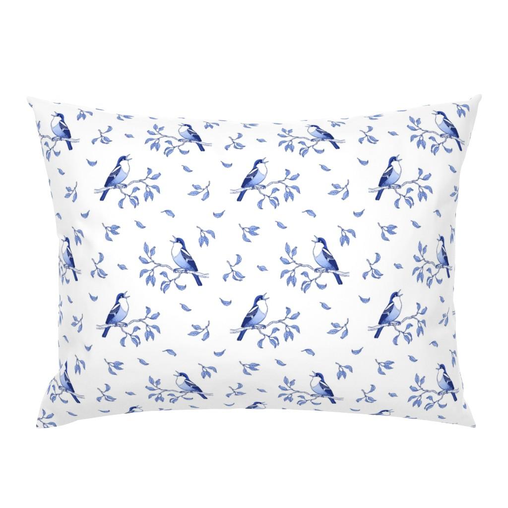Campine Pillow Sham featuring Blue singing birds by nadyabasos