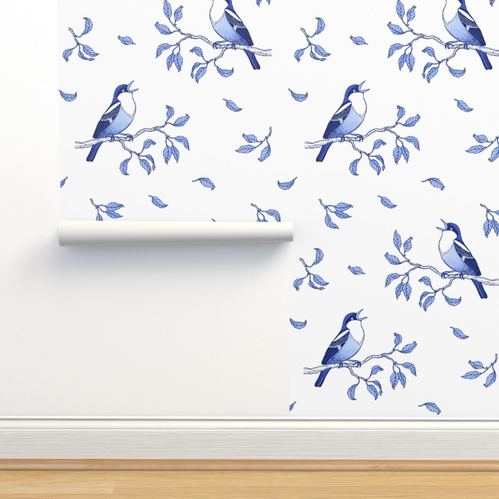 Isobar Durable Wallpaper featuring Blue singing birds by nadyabasos