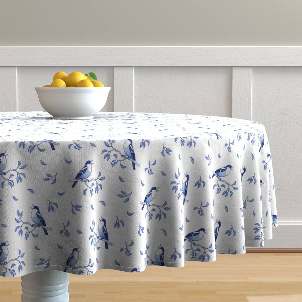 Malay Round Tablecloth featuring Blue singing birds by nadyabasos
