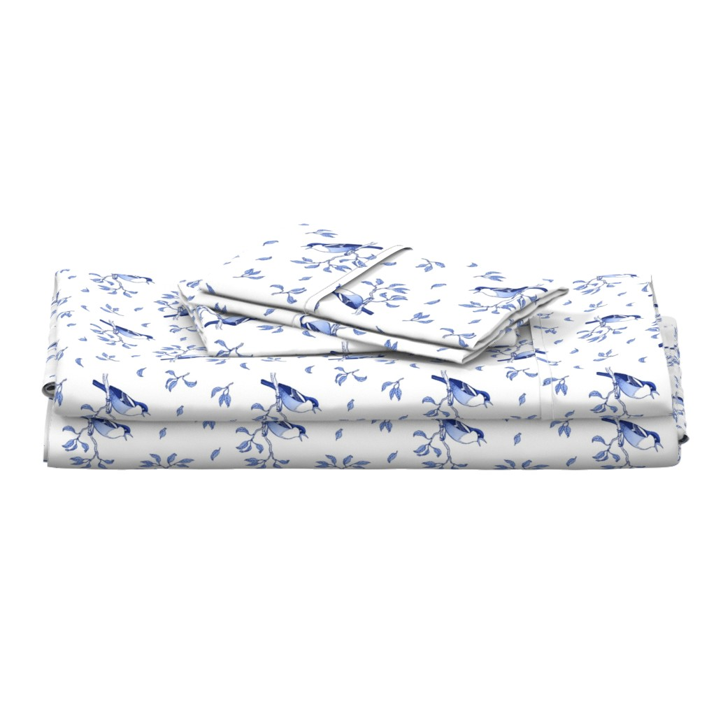 Langshan Full Bed Set featuring Blue singing birds by nadyabasos